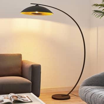 Lindby Emilienne lampadaire arqué, noir-doré