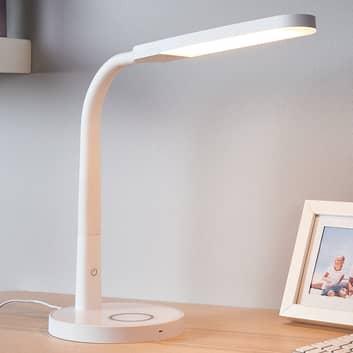 Biała lampka biurkowa LED Maily, gniazdo USB