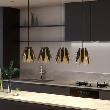 Lucande Lounit -riippuvalo, musta-kulta, 4-lamp.