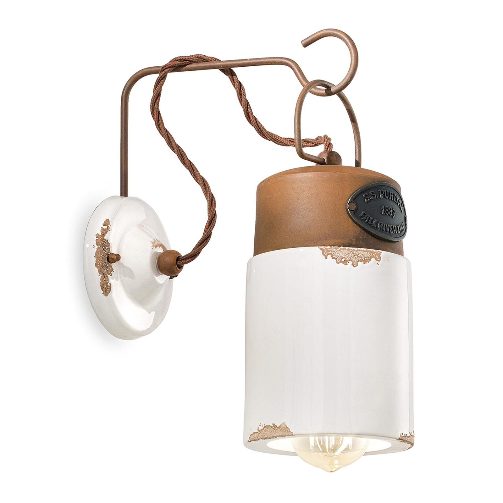 Wandlamp C1621, keramiek en metaal, wit