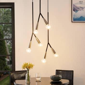 Lucande Carlea hanglamp, 6-lamps, zwart-nikkel