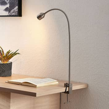 Lindby Hanilo LED klemlamp, gesatineerd nikkel