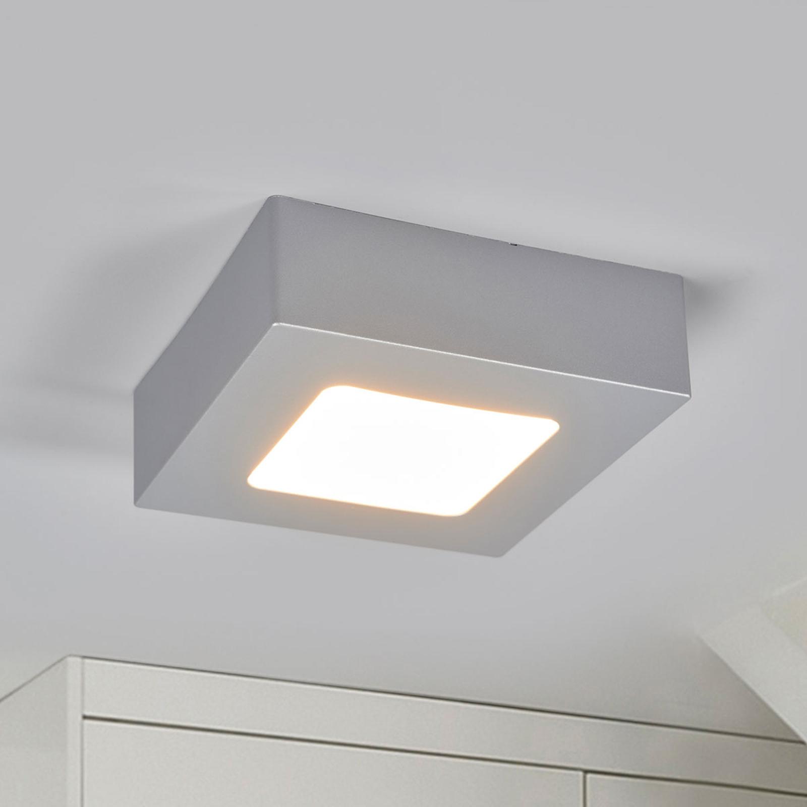 Marlo LED-loftlampe sølv 3000K kantet 12,8cm