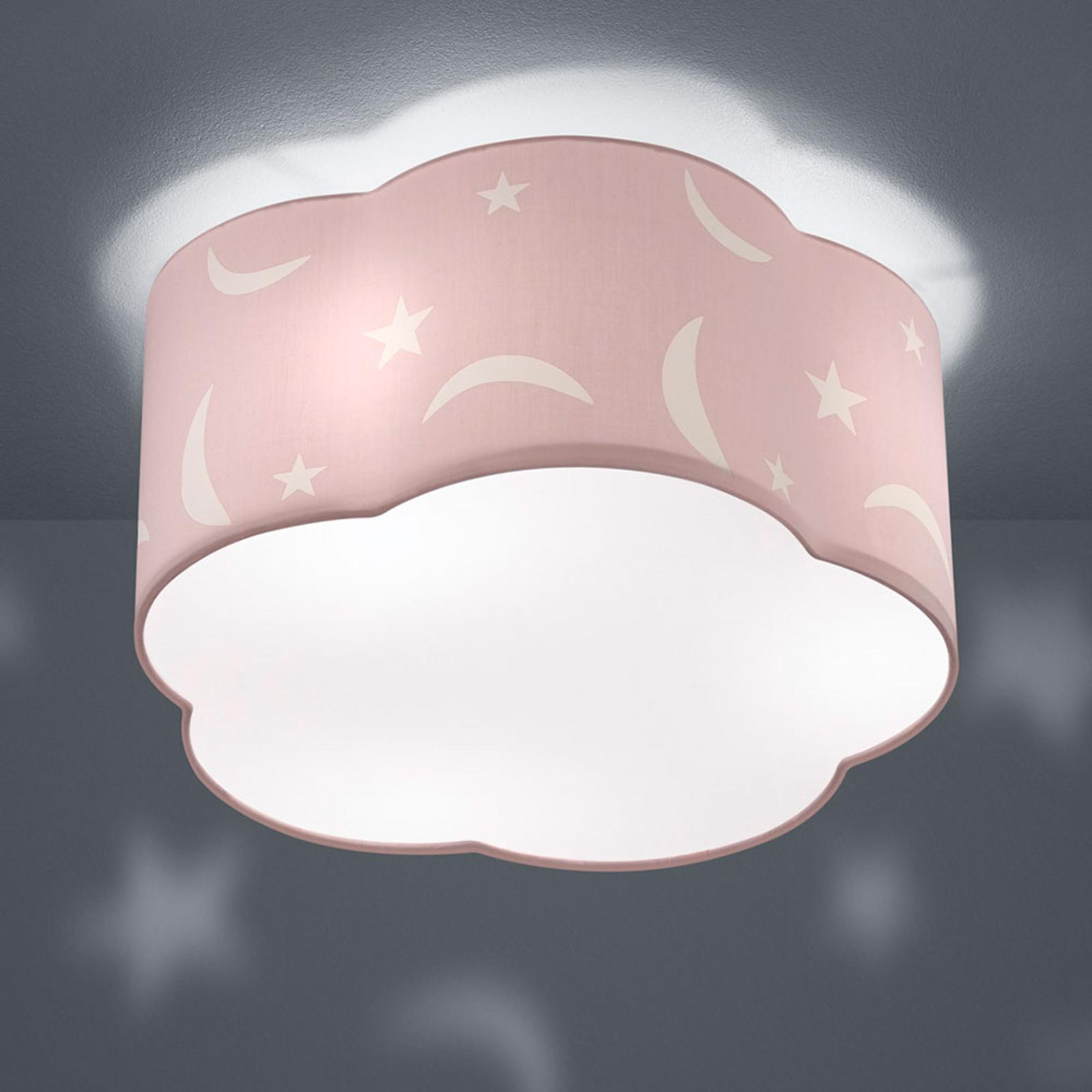 Taklampe Moony til barnerommet pastellrosa