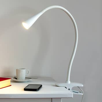 Wąska lampa zaciskowa LED Baris w bieli