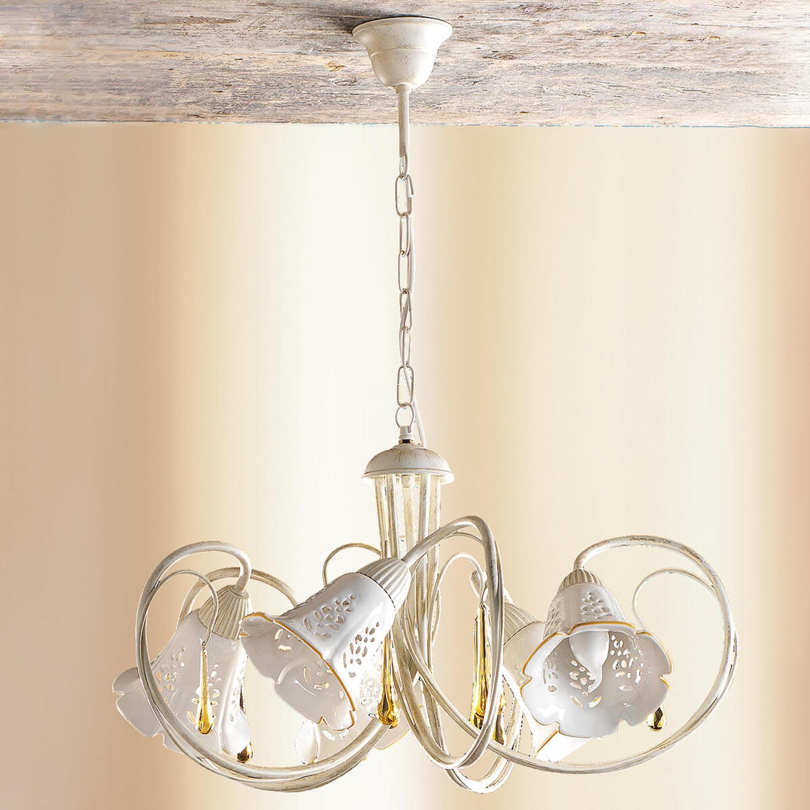 Gocce - lámpara colgante curva de cerámica