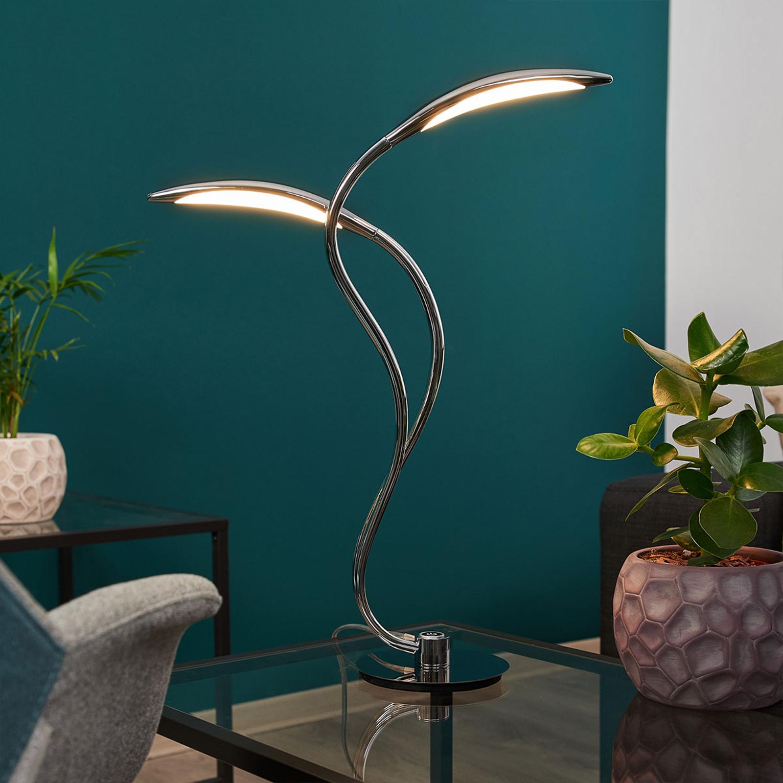 LED-bordslampa Hampton, dimbar, krom, 2 lampor