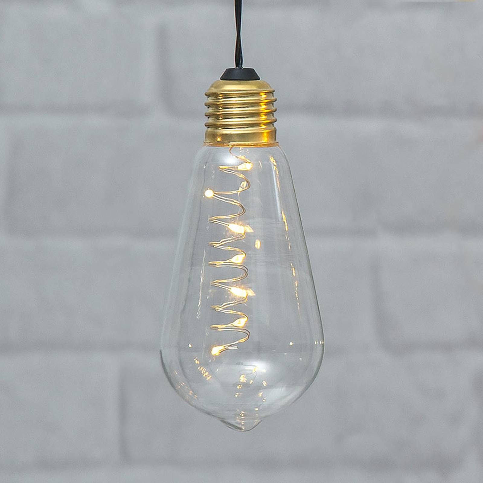 Lampada LED vintage Glow con timer, trasparente