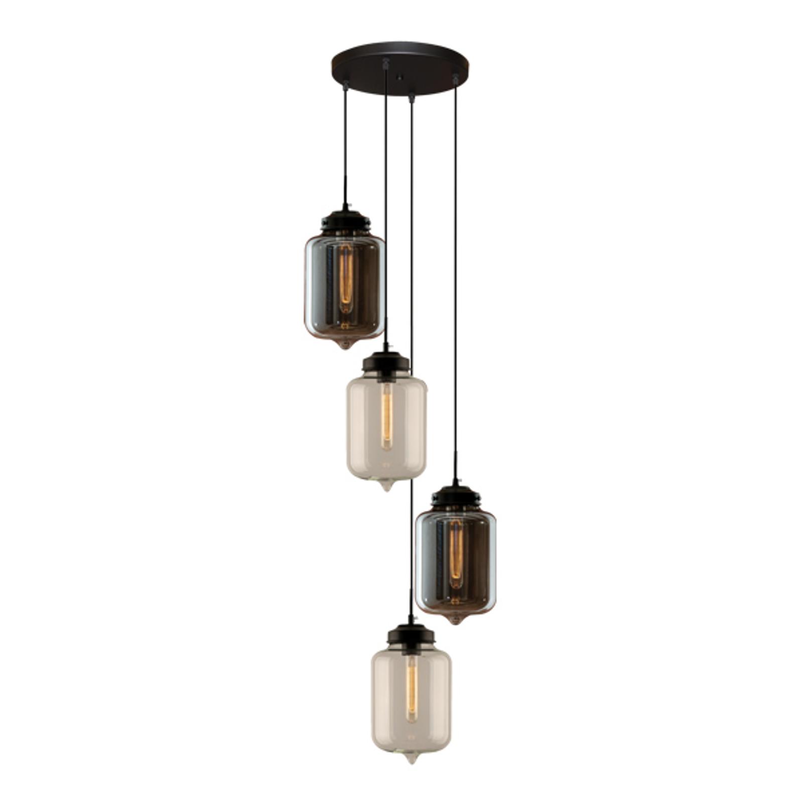 Hanglamp LA011 4-lamps rookgrijs/helder