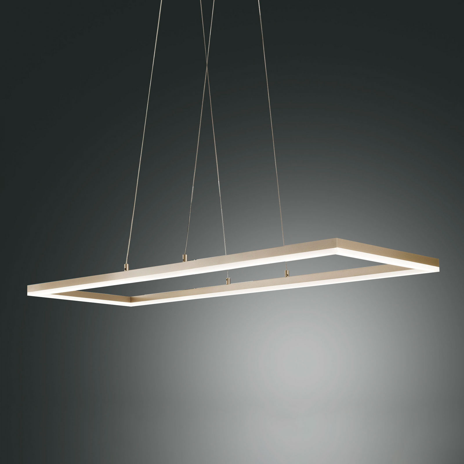 Suspension LED Bard 92x32 cm en finition doré mat