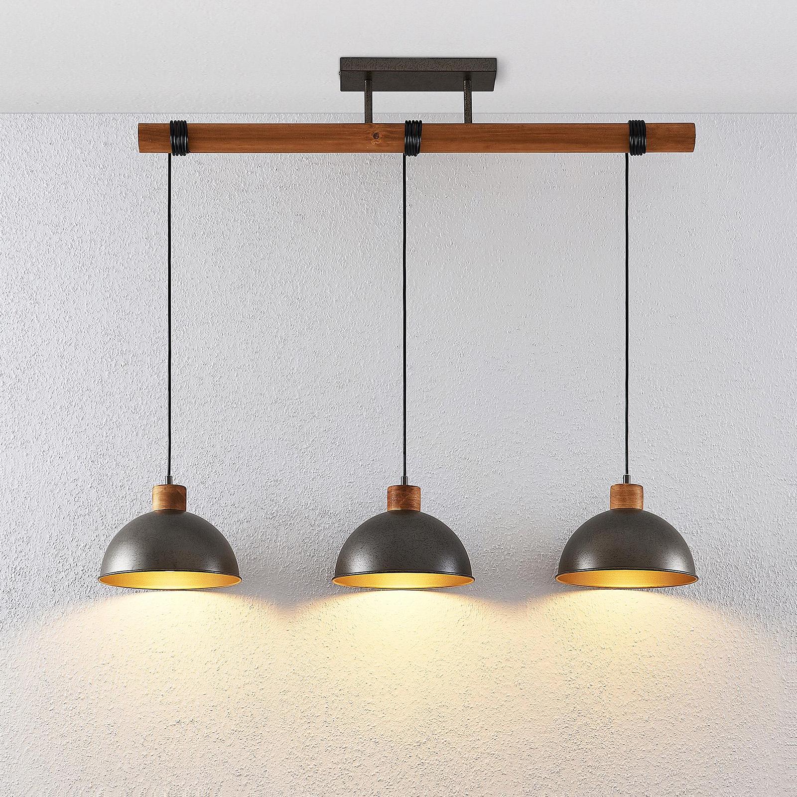Lindby Holgar hanglamp, hout en metaal, 3-lamps