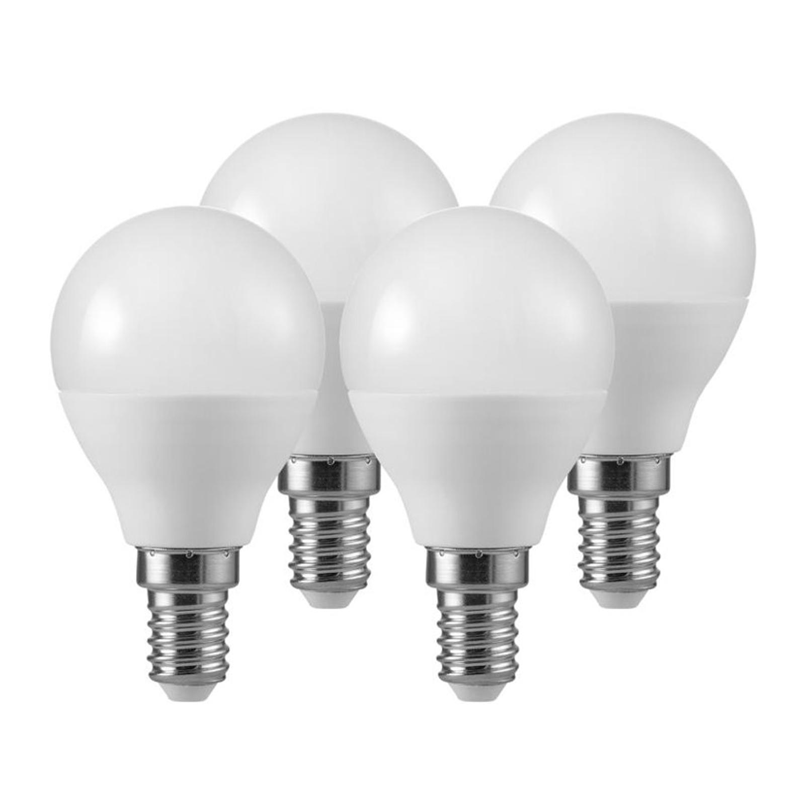 LED-dråpepære E14 5,5W 2°700 K matt 3+1-sett