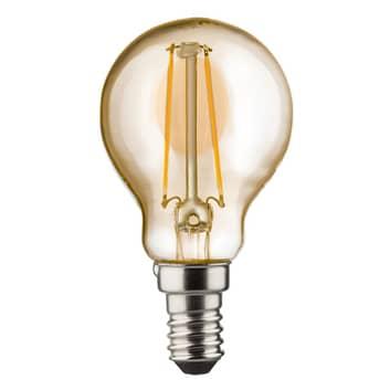 E14 2W 820 bombilla a gota LED dorada