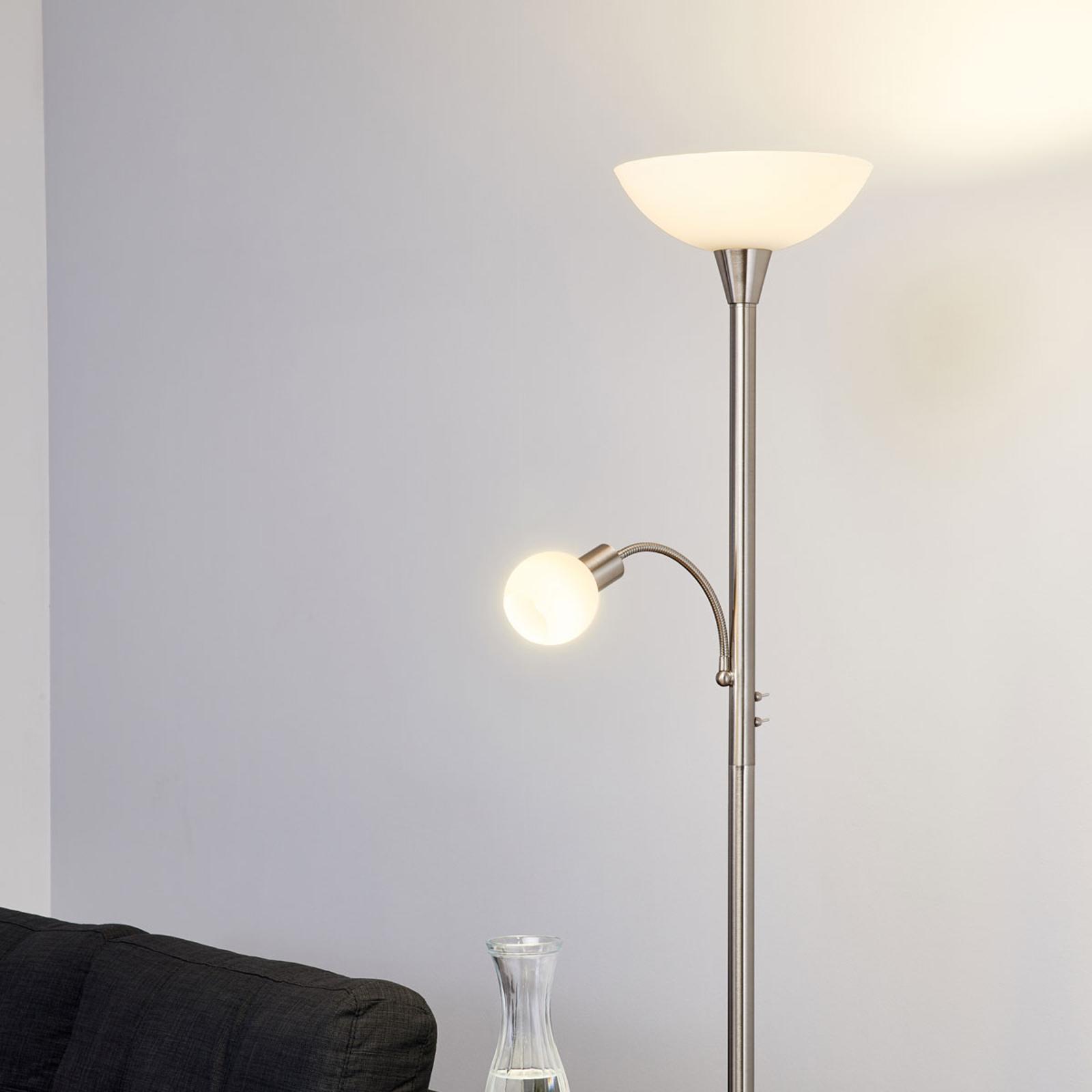 Elaina - lampada LED da terra a 2 luci nichel