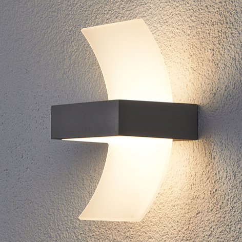 Applique parete Skadi, ricurva, a LED