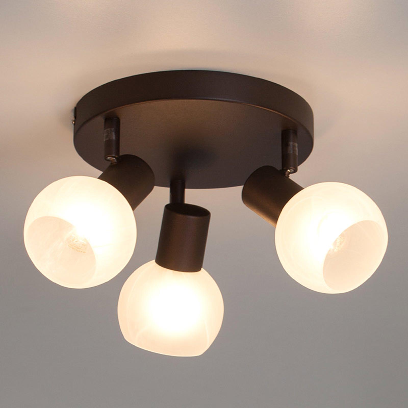 Trzypunktowa okrągła lampa sufitowa Gabon