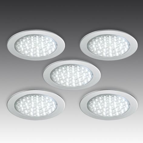 R 68-LED indbyggelig spot i ædelståloptik, 5 stk.