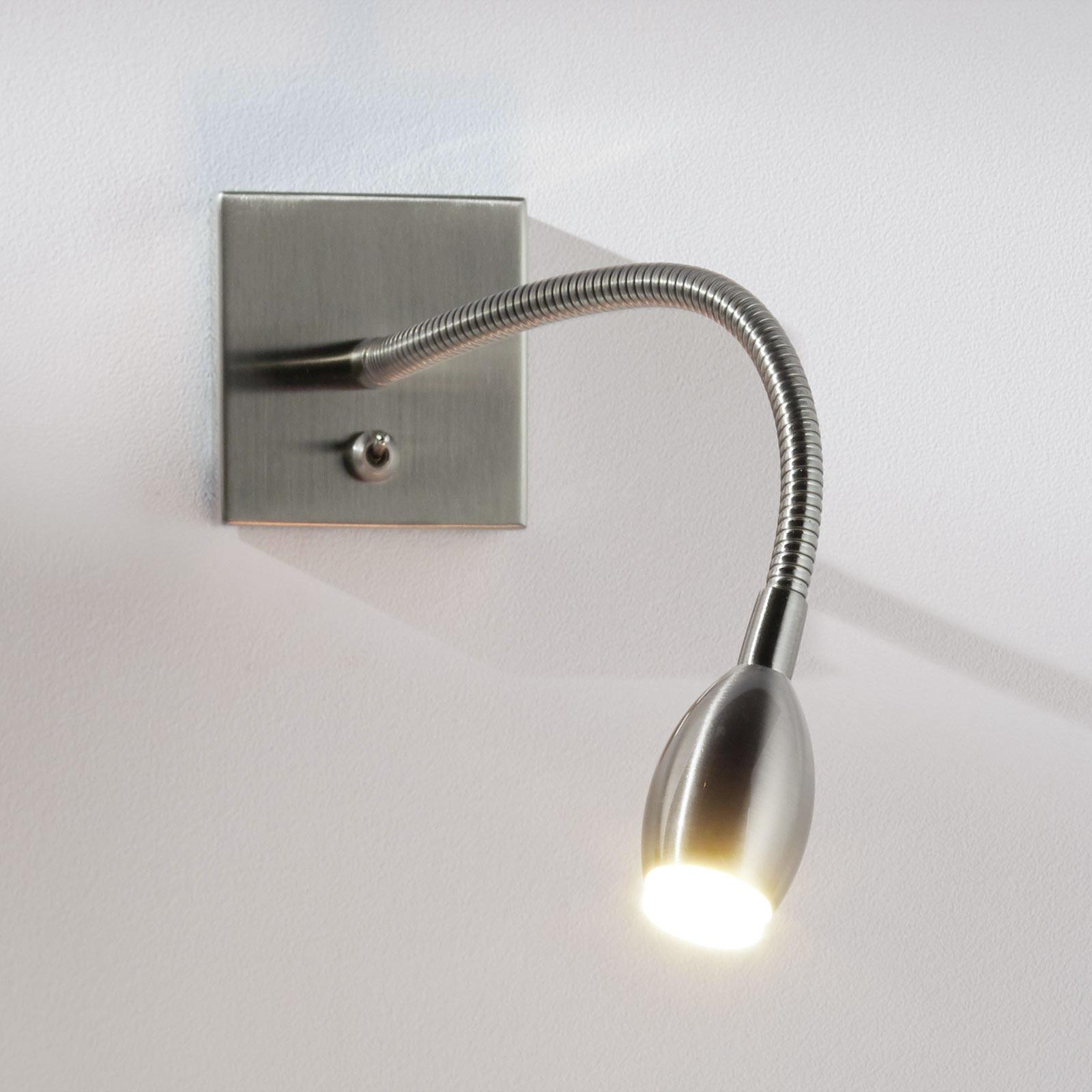Förnicklad LED-vägglampa PILAR med flexibel arm