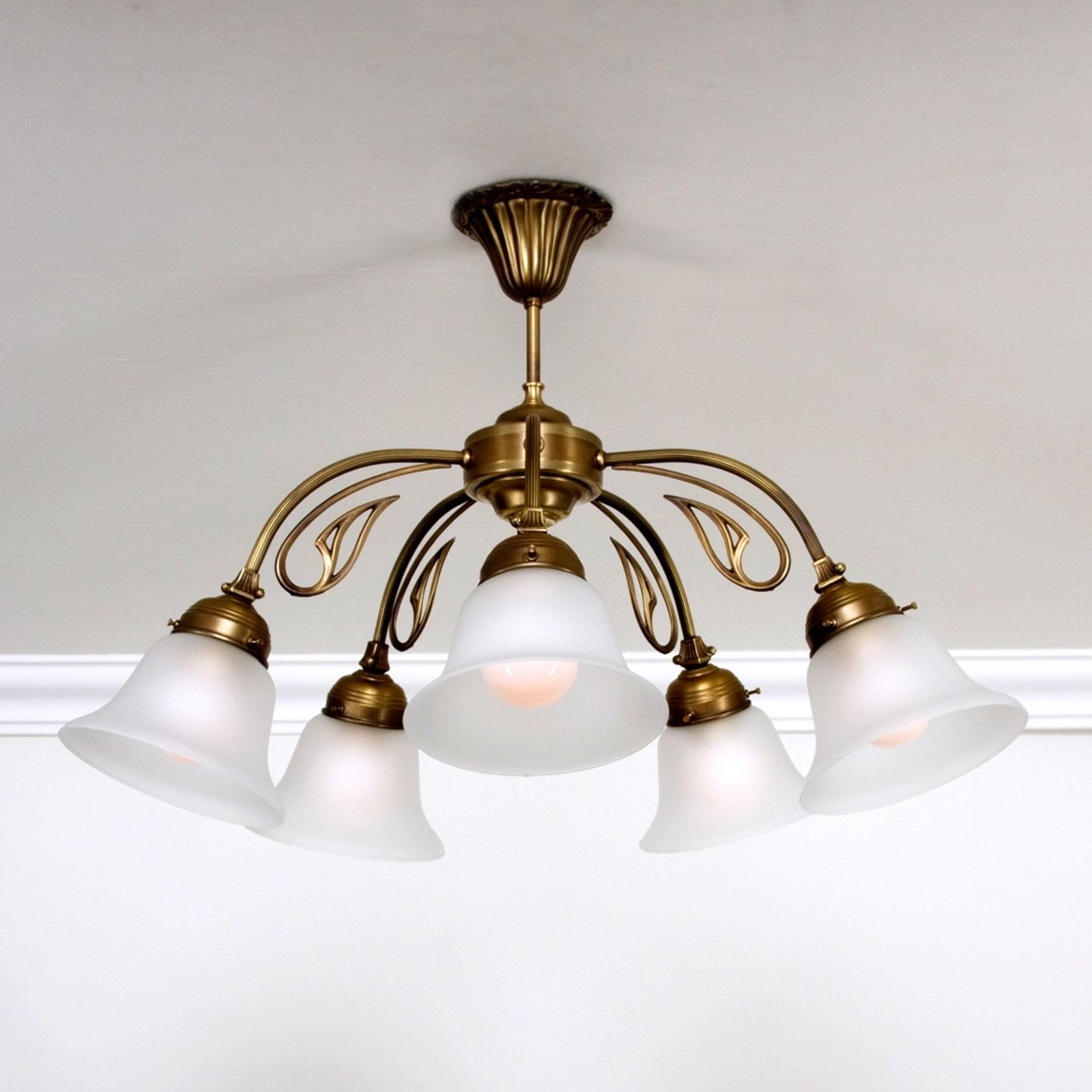 Päť-plameňové stropné svietidlo OLGA mosadz_1542029_1