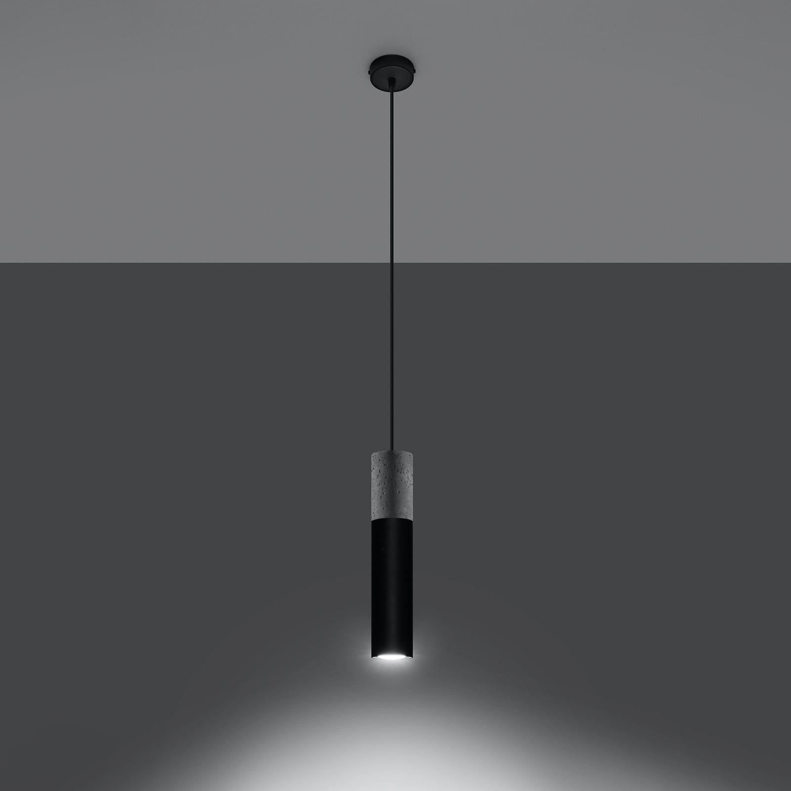 Hanglamp Tube, beton, zwart, 1-lamp