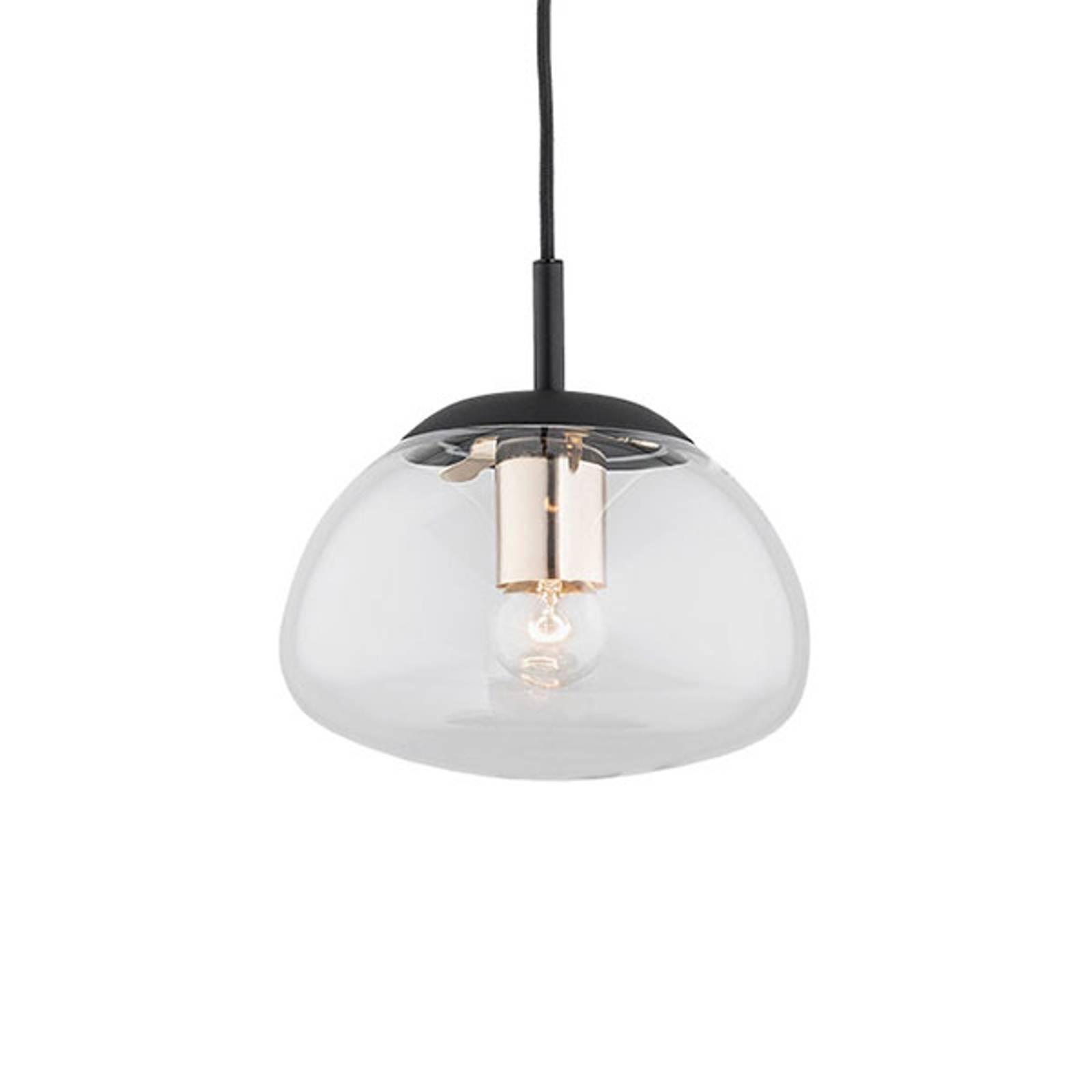 Suspension Turku 1 lampe transparente/noire Ø 20cm