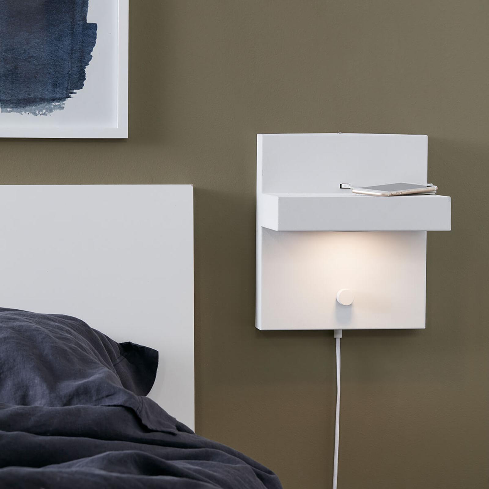 LED-Wandlampe Kubik mit USB-Ladeanschluss, weiß