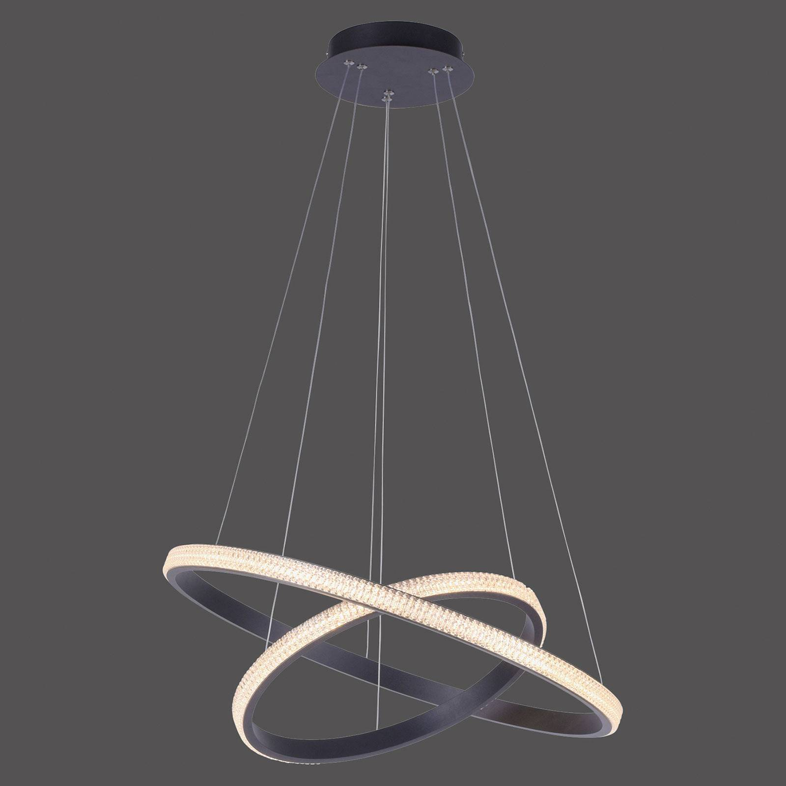 Lampa wisząca LED Musa, 2 pierścienie, czarna