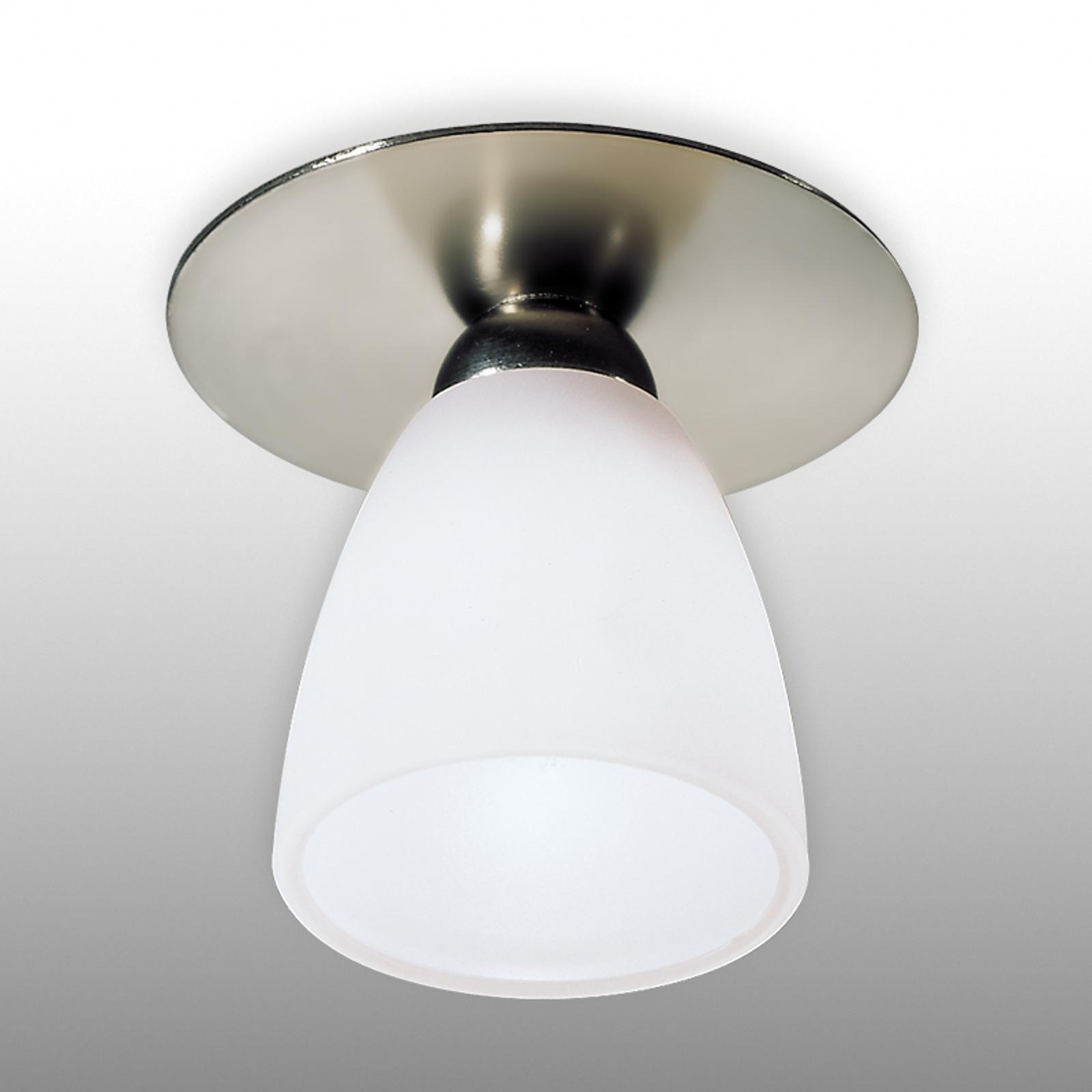 Downlight ARTE nichel satinato, vetro bianco