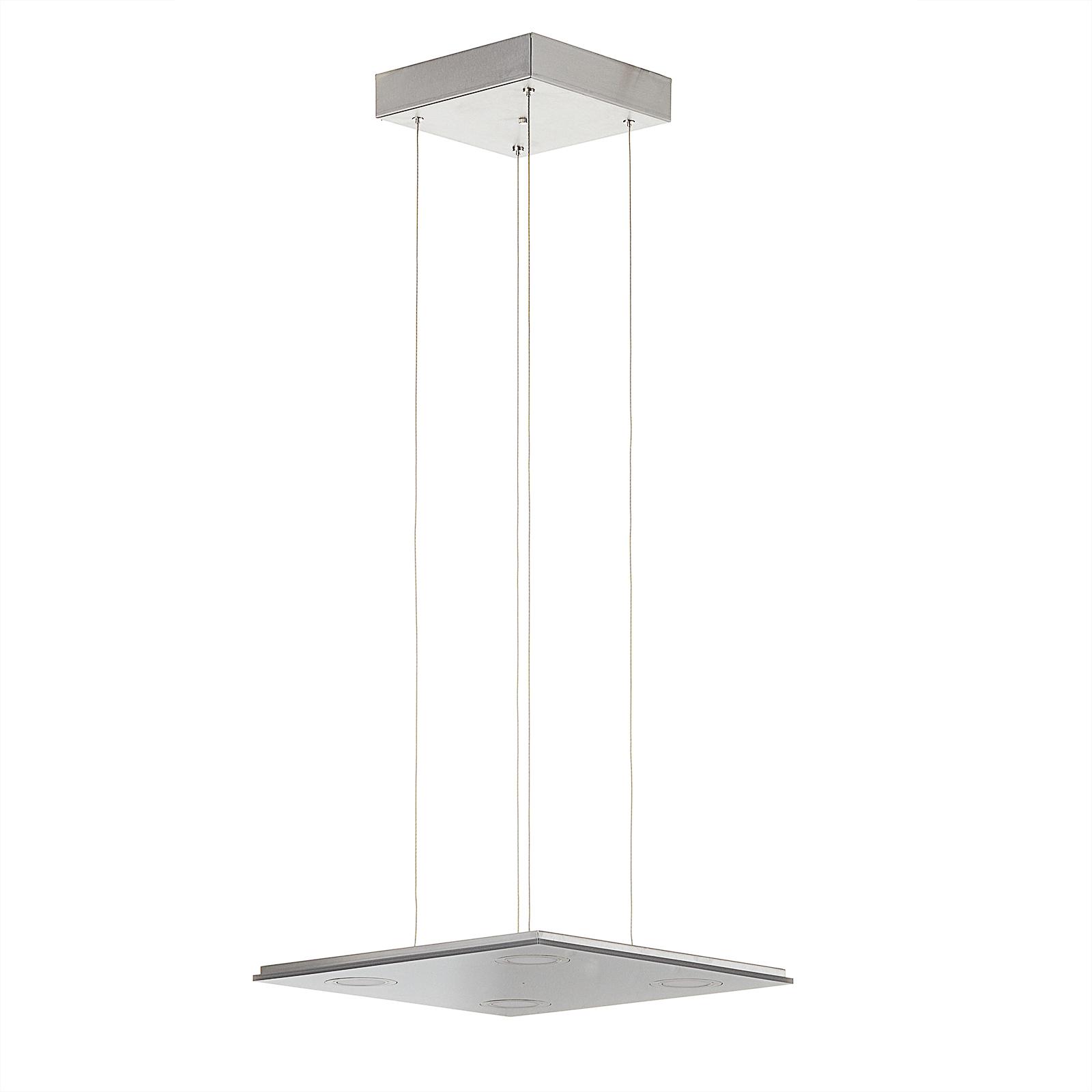 Kvadratisk LED-pendellampe Pano, metallic