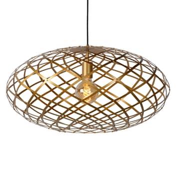 Suspension Wolfram, abat-jour ovale, 65cm, dorée