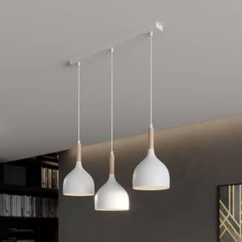 Noak hængelampe 3 lyskilder lineær, hvid/træ natur