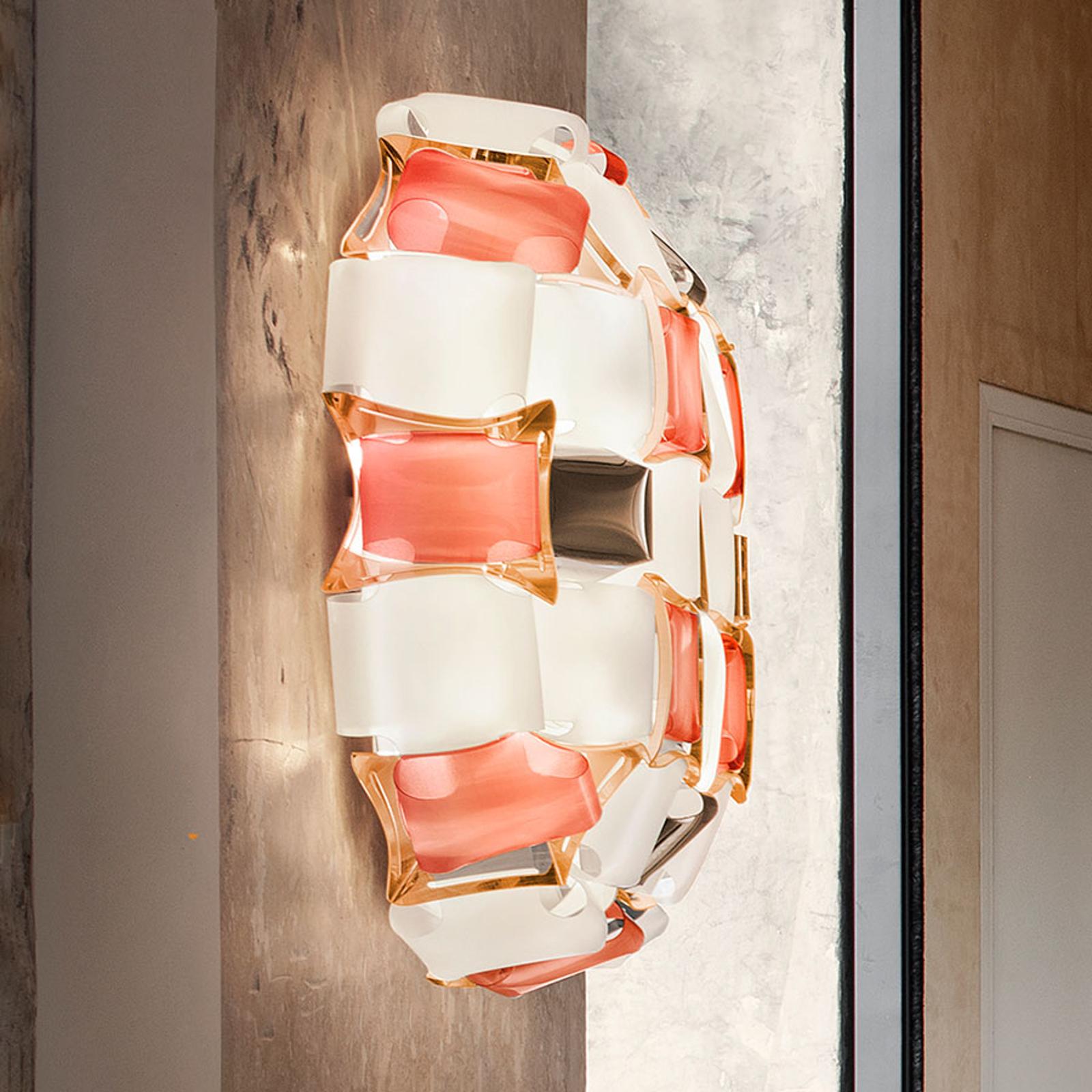 Slamp Mida wandlamp, 32x32 cm rosé/wit