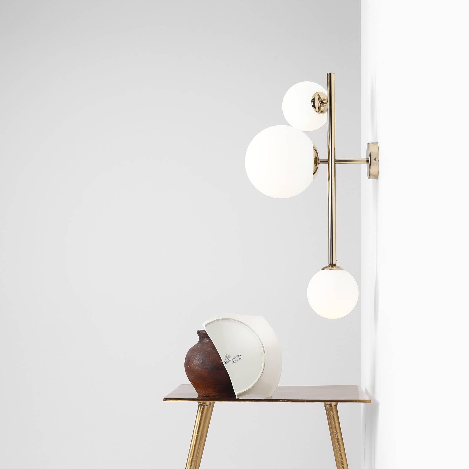 Wandlamp Dione, 3-lamps, goud