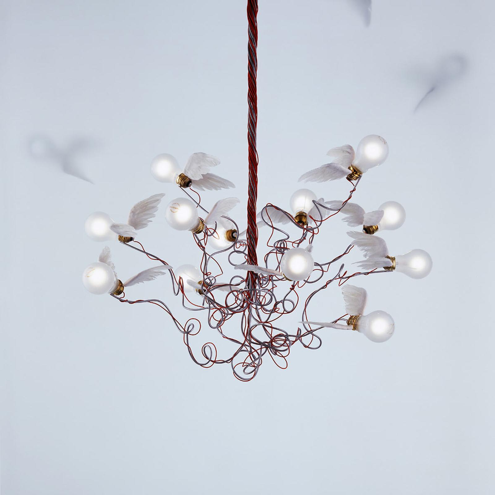 Ingo Maurer Birdie - lampa wisząca, kabel czerwony