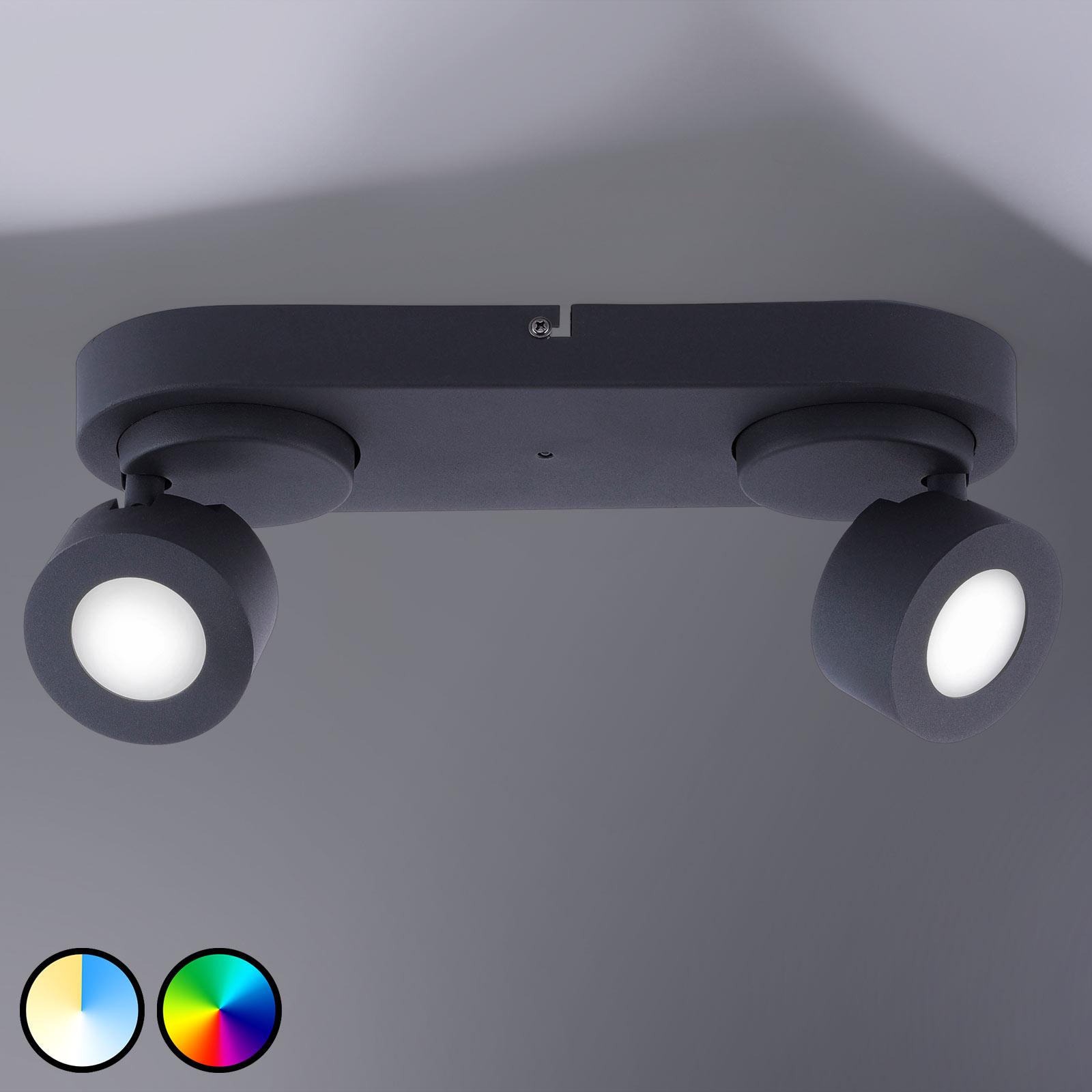 Trio WiZ Sancho LED-spot, 2 lyskilder, svart