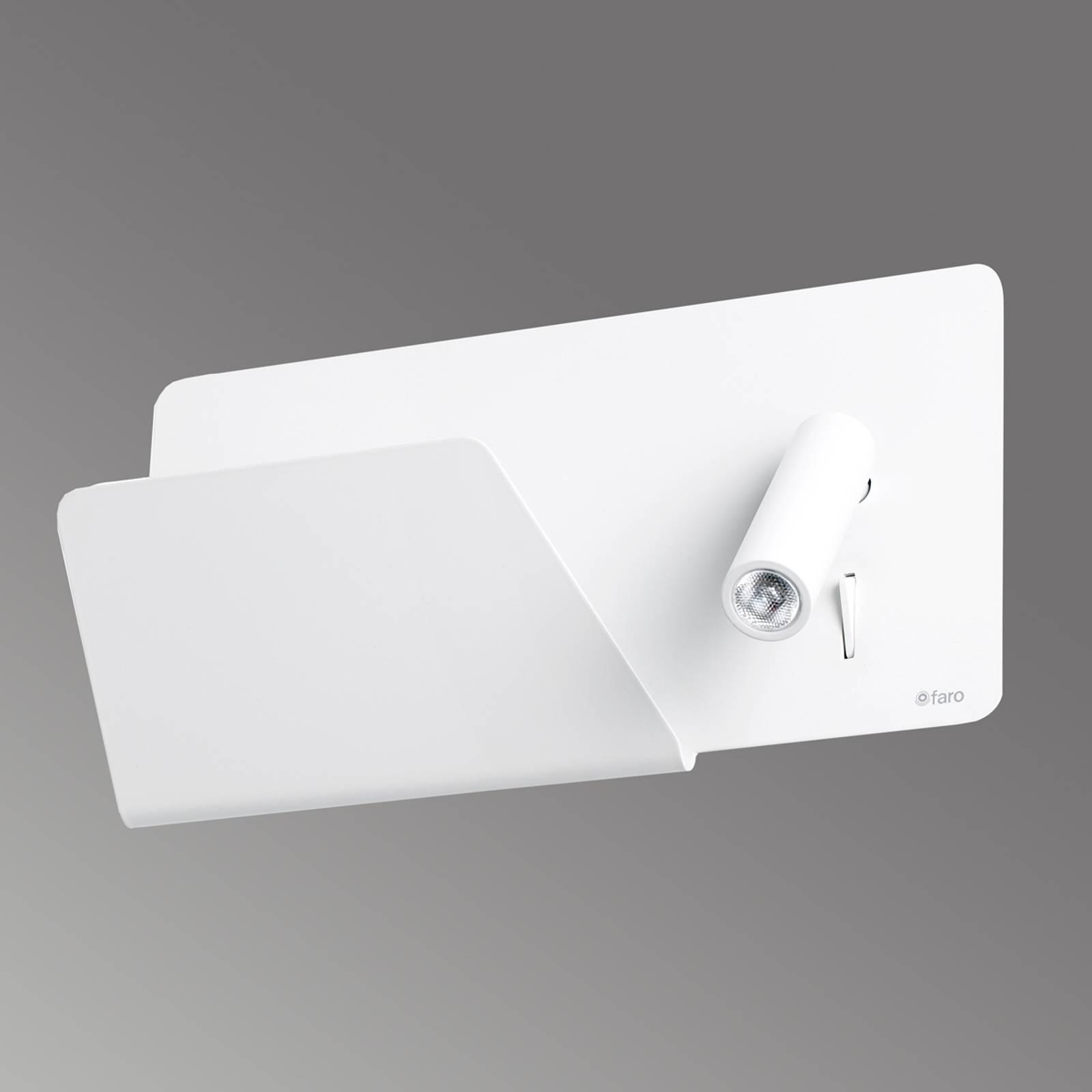 Suau - weiße LED-Wandleuchte mit Ablagefläche