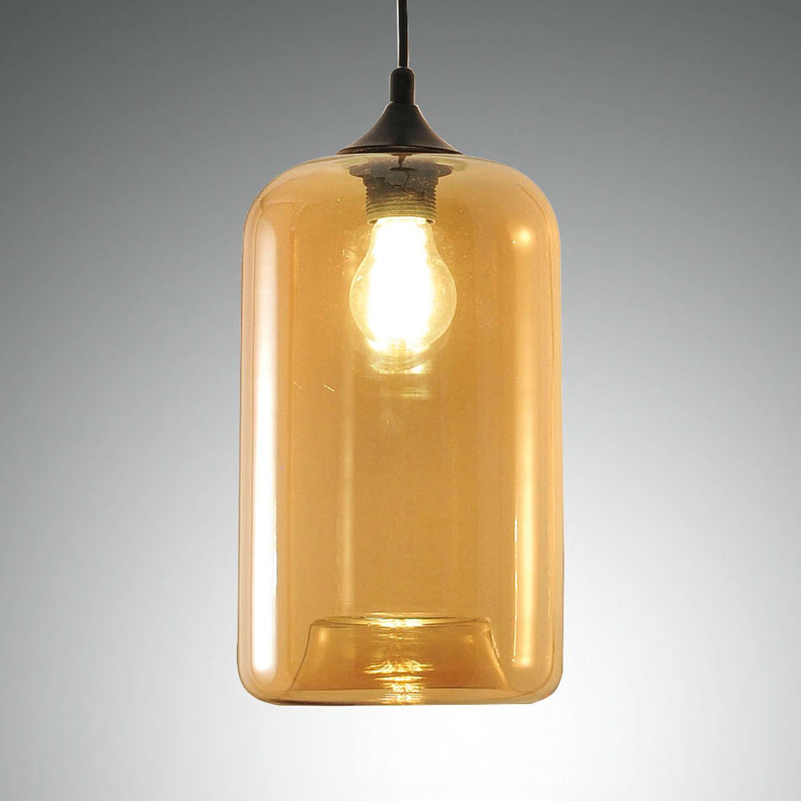 Závěsné světlo Silo ze skla, jantarová