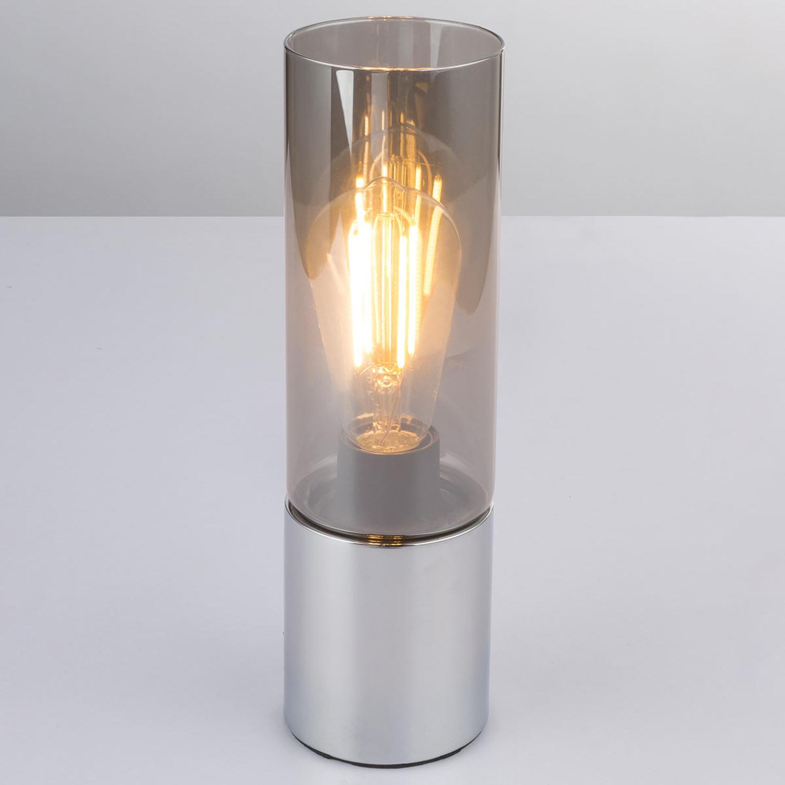 Lampa stołowa Annika z przydymionym szarym kloszem