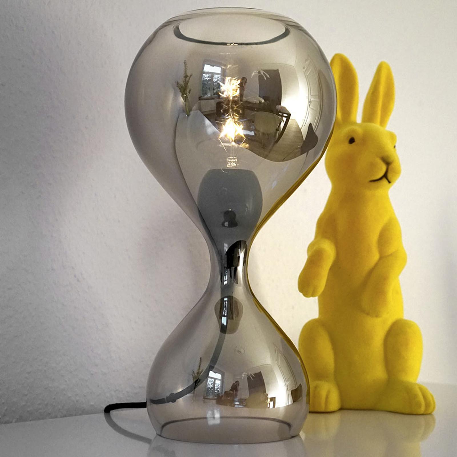 next Blubb - mundgeblasene Glas-Tischleuchte chrom