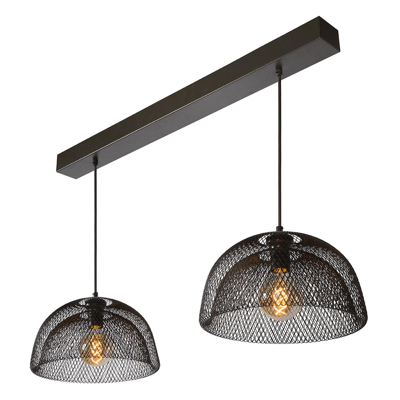 Suspension à deux lampes Mesh en noir