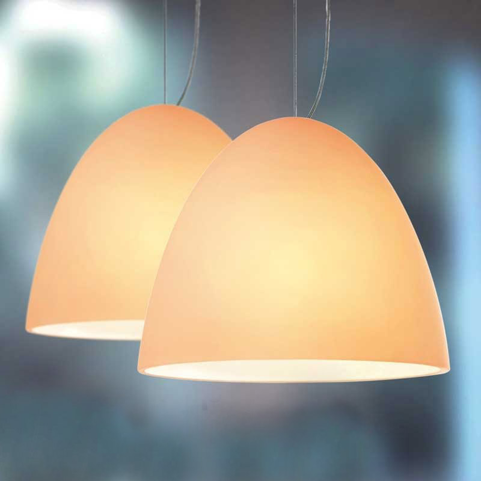 Sand-coloured pendant light BELL 2-bulb_2000241_1
