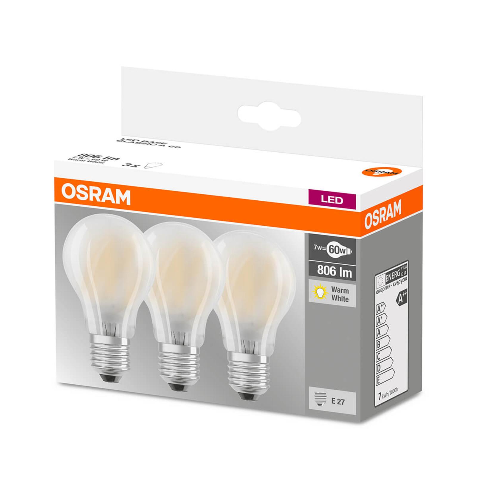 LED-pære E27 7 W,806 lumen, 3-pakk