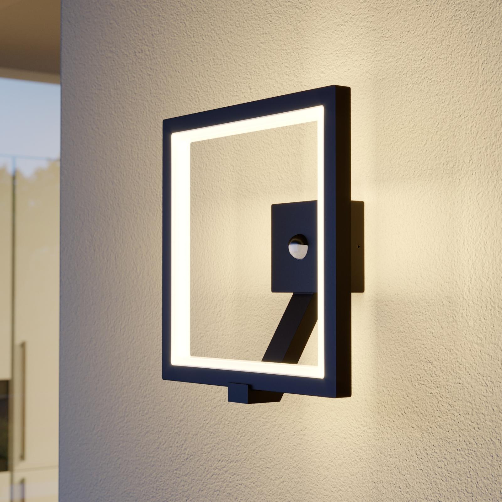 LED-Außenwandlampe Square, graphitgrau, mit Sensor
