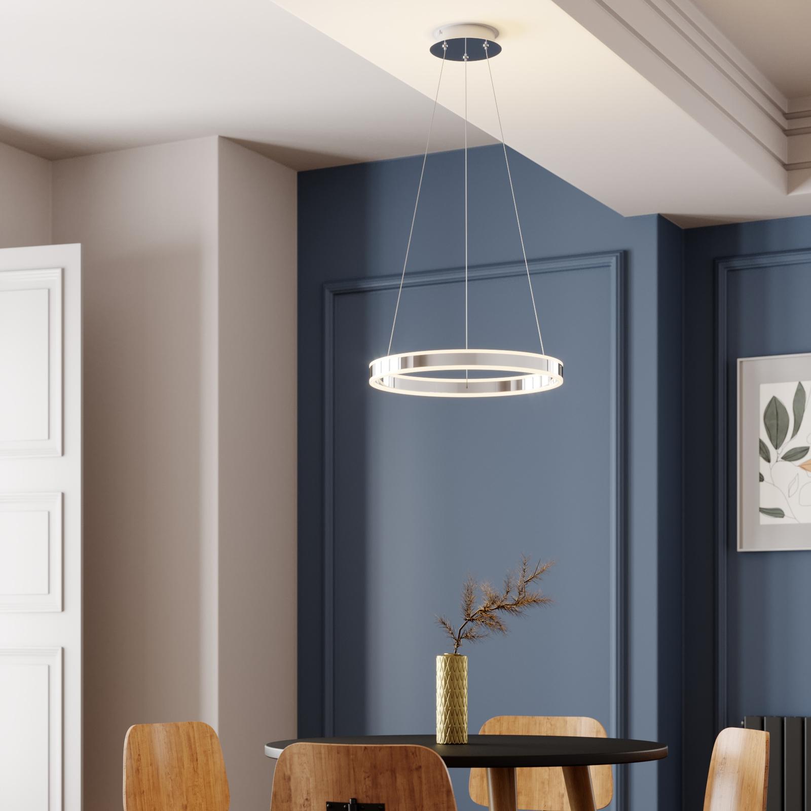 LED Pendelleuchte Lyani in Chrom, dimmbar, 50 cm
