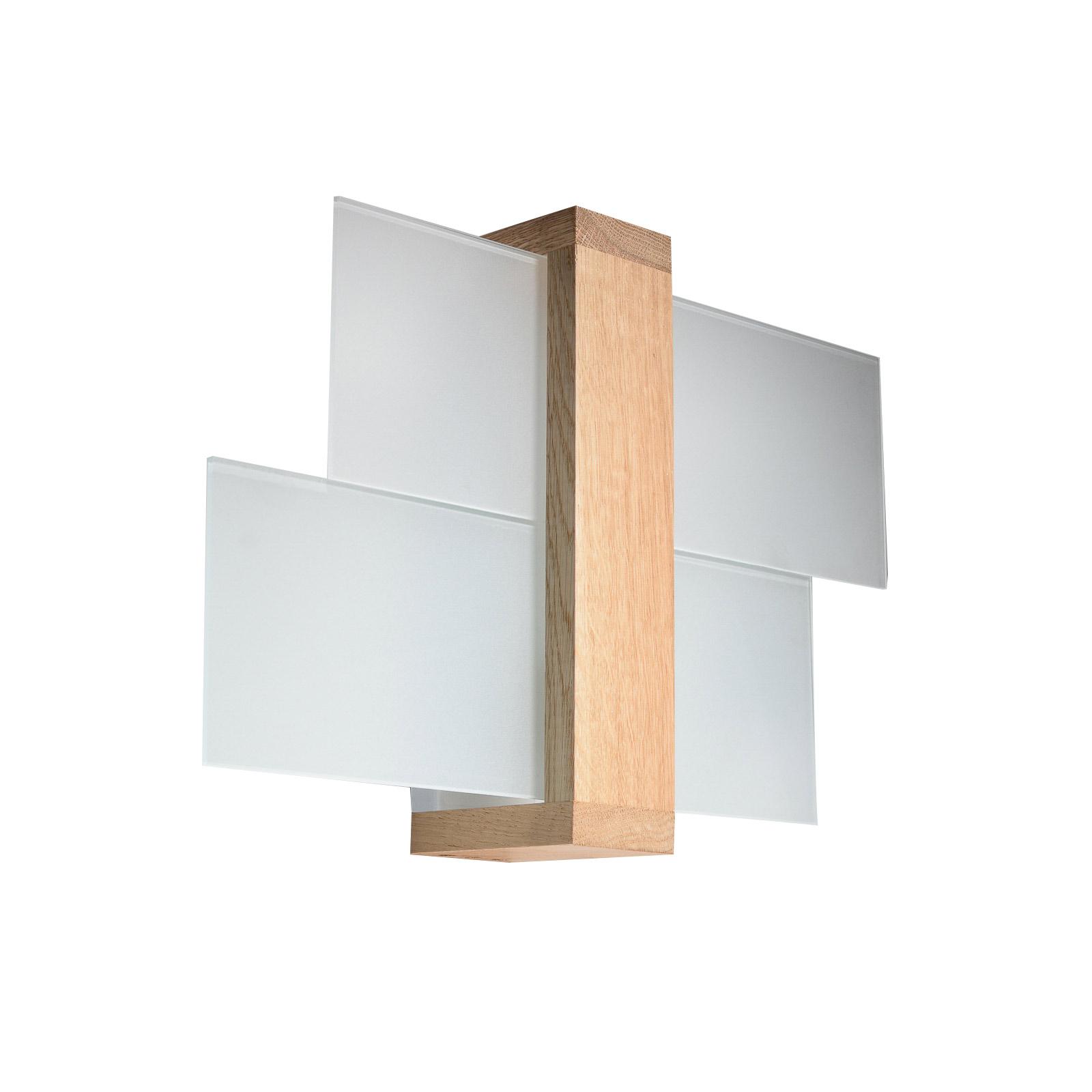 Applique Shifted 1, verre et bois clair