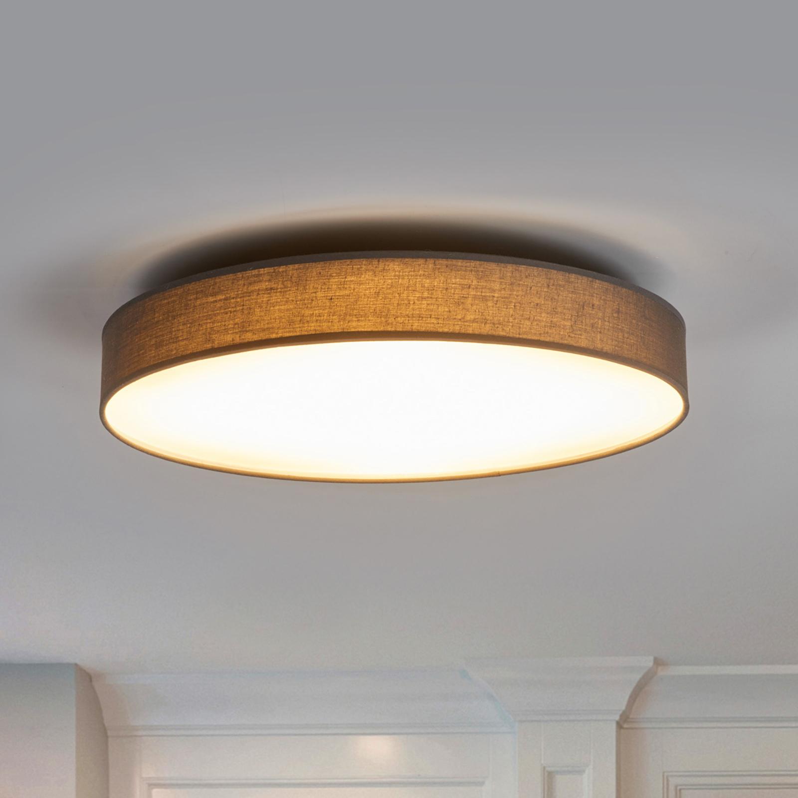 Saira LED-loftlampe med stof, 50 cm, grå