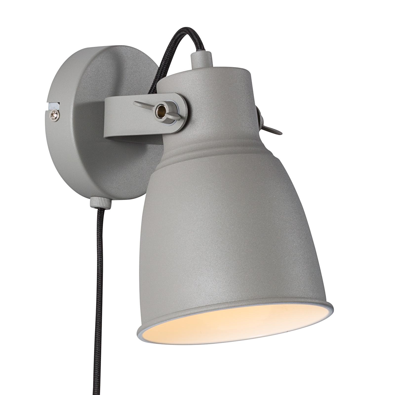 Wandlamp Adrian met kabel en stekker, grijs