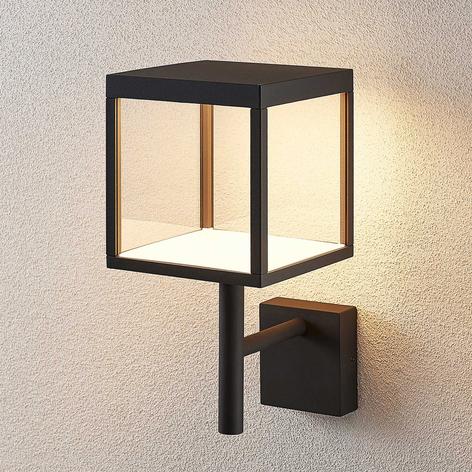 LED-Außenwandleuchte Cube mit Glasschirm, graphit