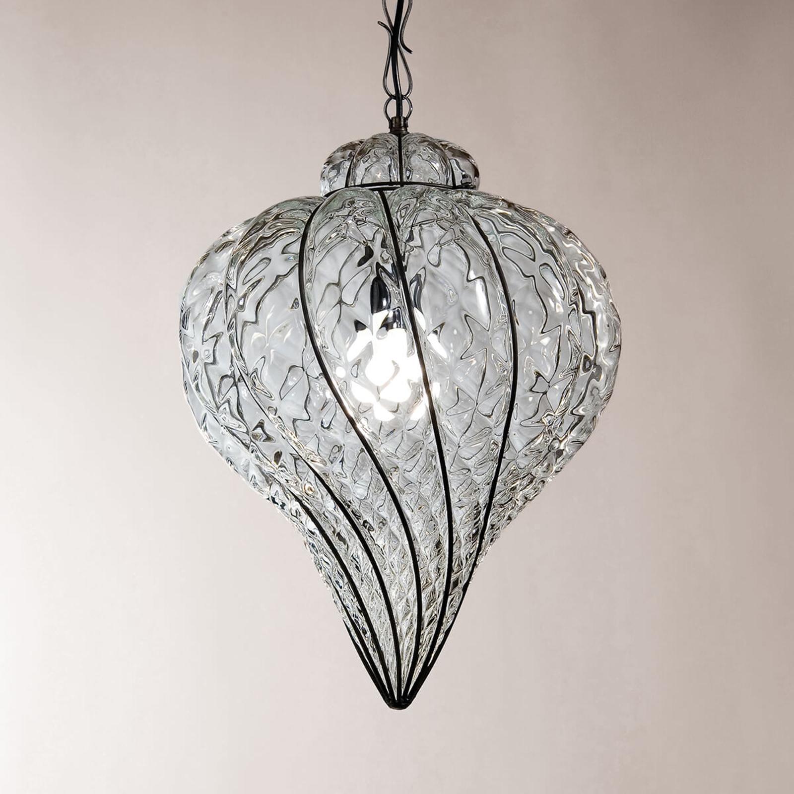 Goccia udendørs hængelampe, mundblæst, klar