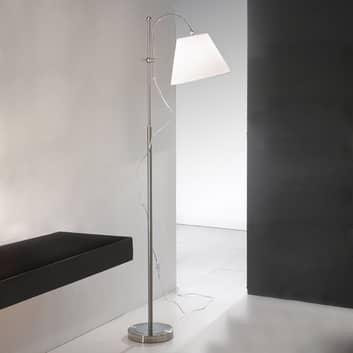 Tekstil-gulvlampe Lilly, nikkel, høydejusterbar